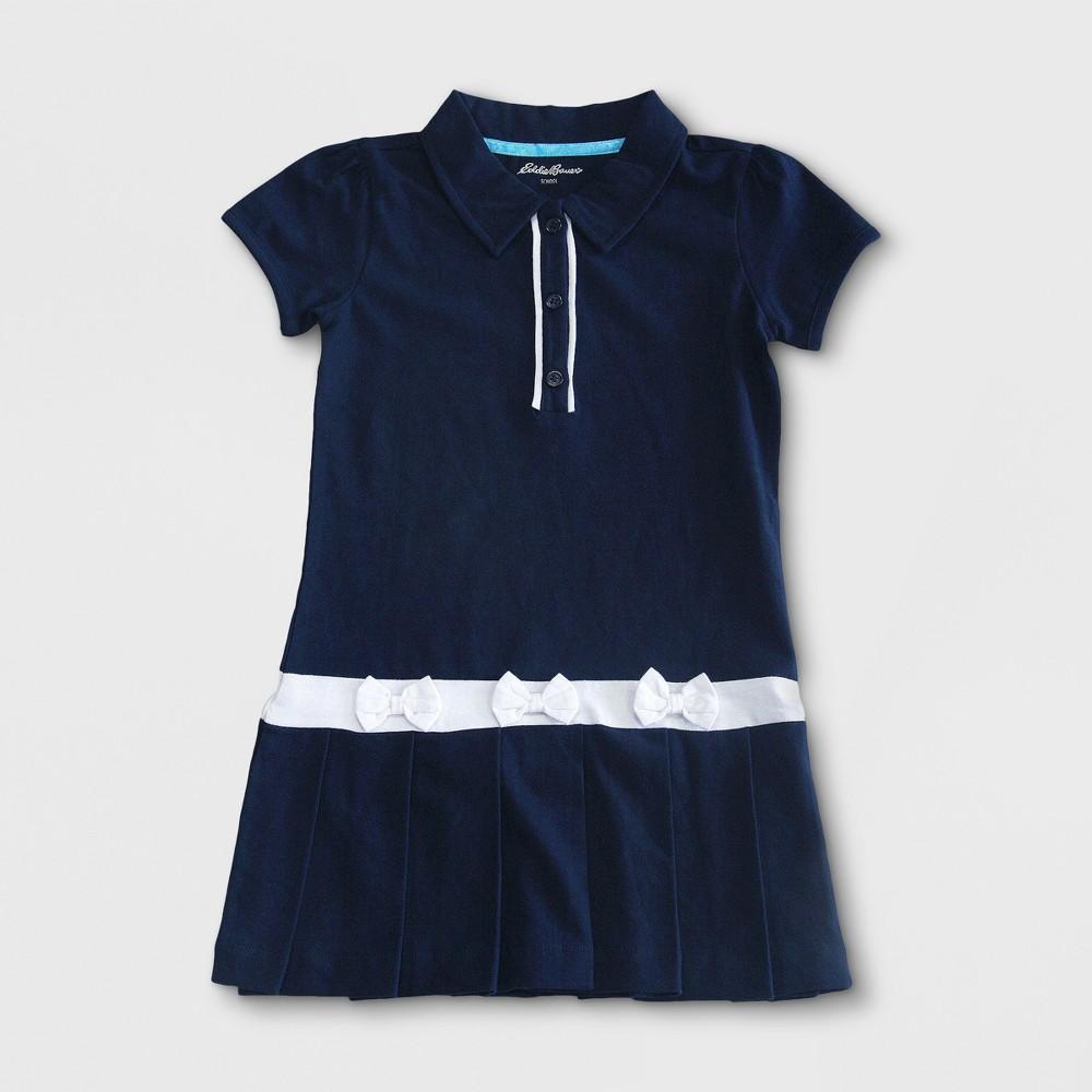 Eddie Bauer Girls' Pleated Uniform Dress Navy 5, Blue