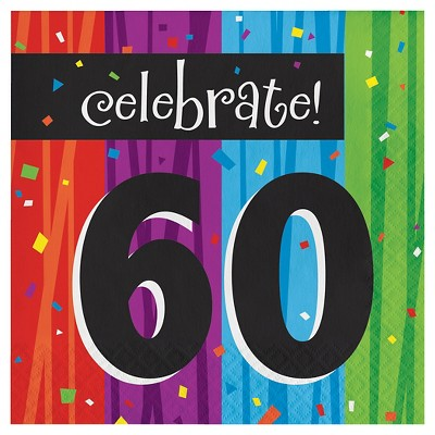 16ct Milestone Celebrations 60th Birthday Napkins
