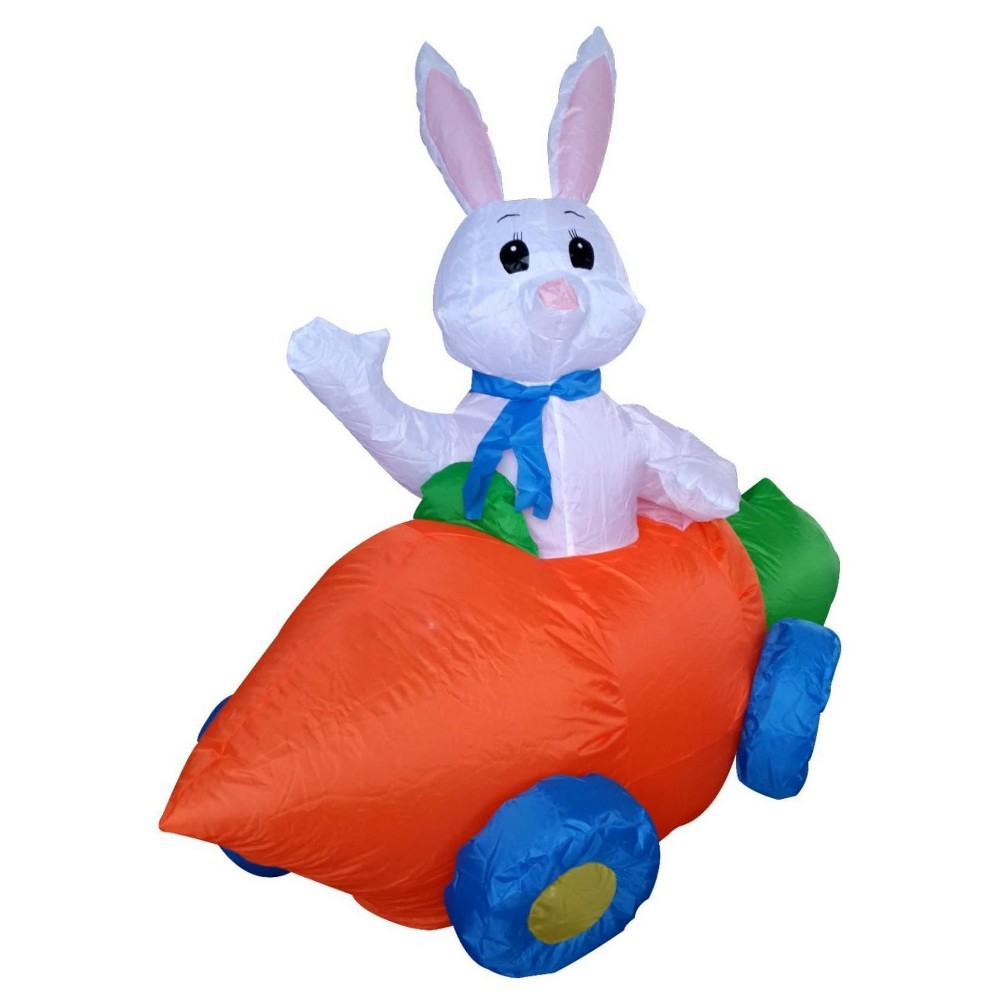Easter Bunny in a Carrot Car Inflatable Lawn Led Décor (4' Tall), Multi-Colored