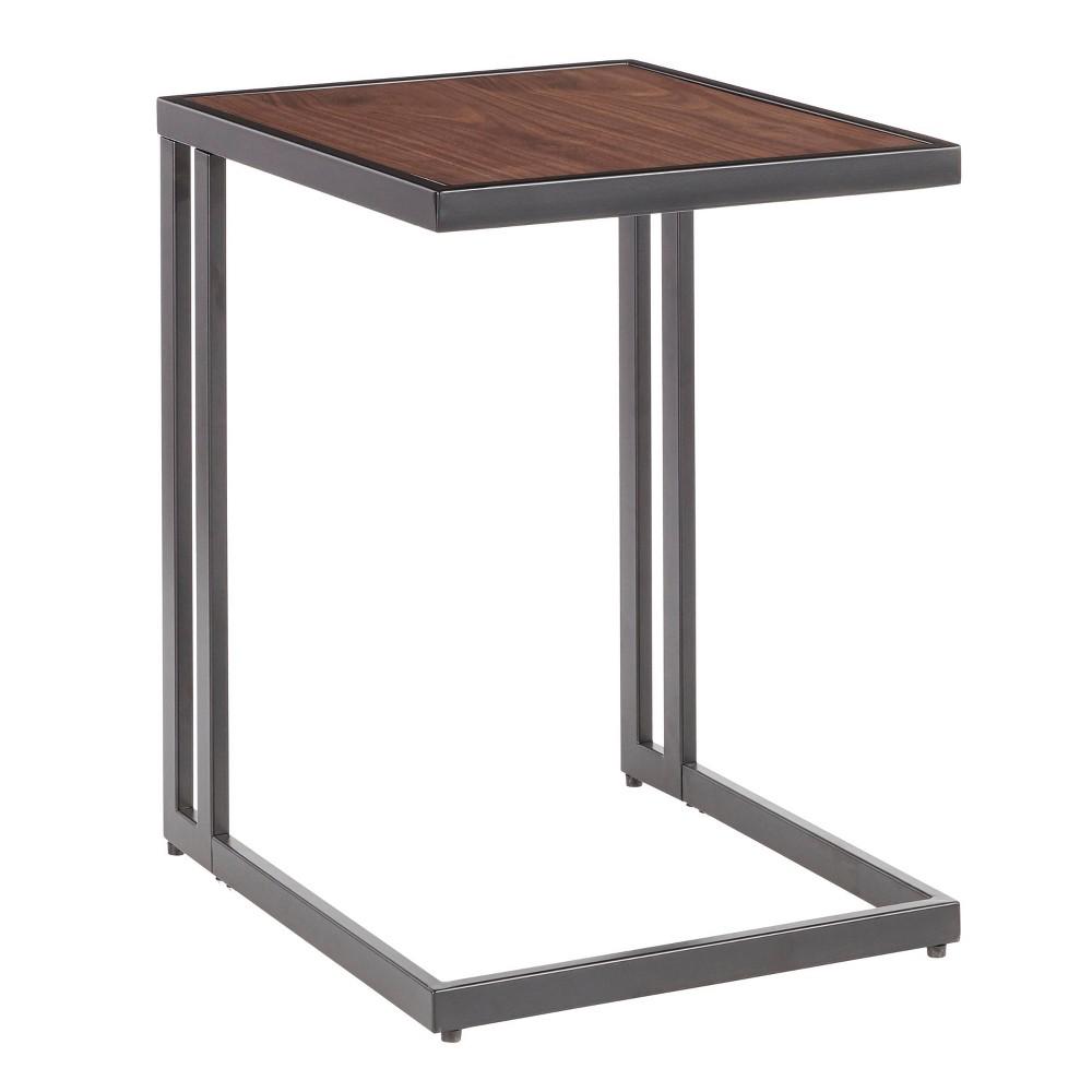 Image of Roman Industrial Side Table Black/Walnut - Lumisource, Black/Brown