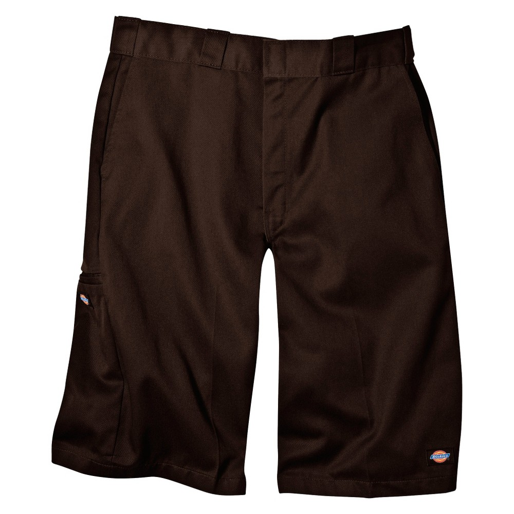 Dickies Men's Loose Fit Twill 13 Multi-Pocket Work Shorts- Dark Brown 33