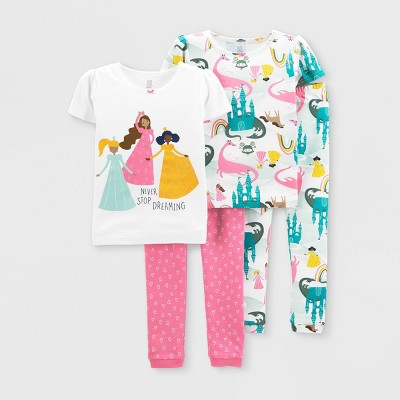 Baby Girls' 4pc Princess Snug Fit Pajama Set - Just One You® made by carter's Pink 18M