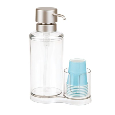 mDesign Modern Plastic Mouthwash Pump Caddy and Disposable Cup Holder