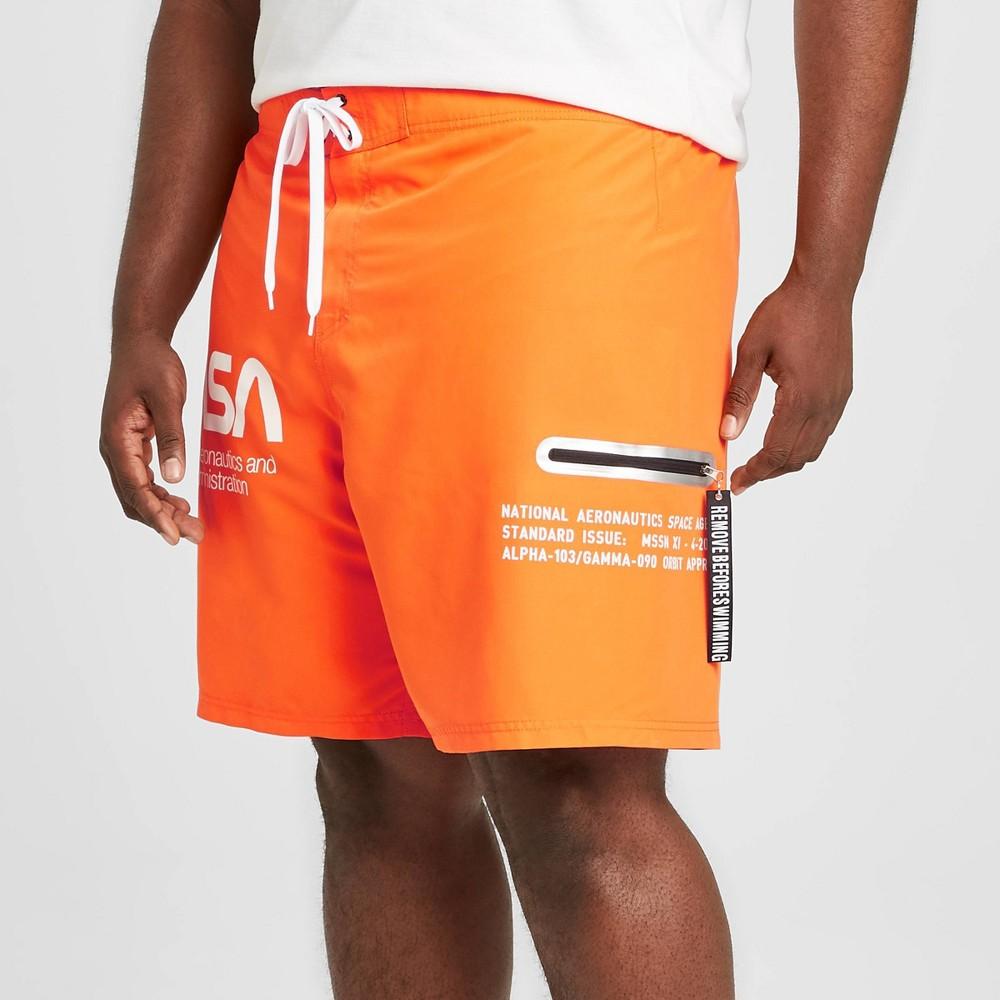 "Image of ""Men's Big & Tall 10"""" NASA Board Shorts - Orange 4XB, Men's"""