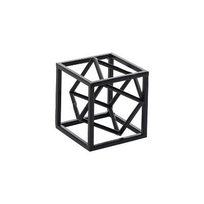 Black Modern Cube Metal Decorative Sculpture - Foreside Home & Garden
