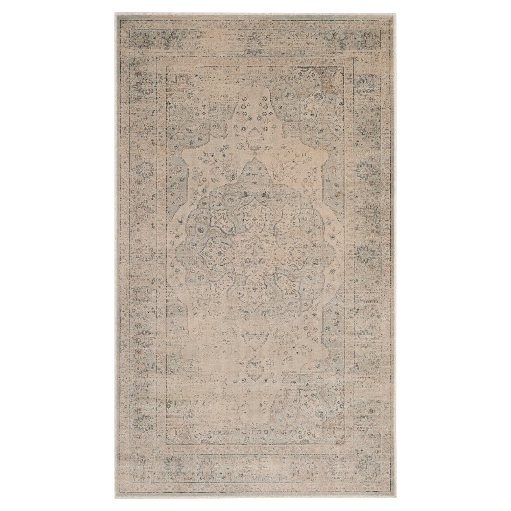 Light Blue/Cream (Light Blue/Ivory) Abstract Loomed Accent Rug - (3'3
