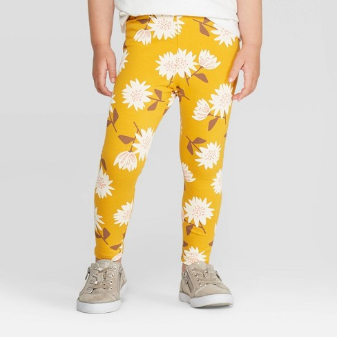 Toddler Girls' Floral Leggings - Cat & Jack™ Yellow - image 1 of 3