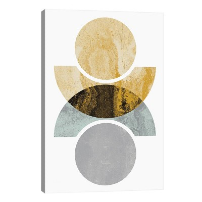 Circles Reflected by Flatowl Unframed Wall Canvas Print Yellow - iCanvas