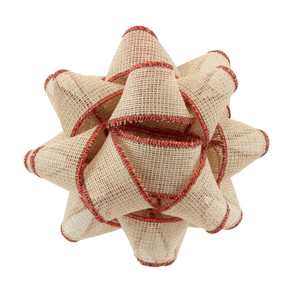 Natural with Red Edge Fabric Gift Bow - Wondershop