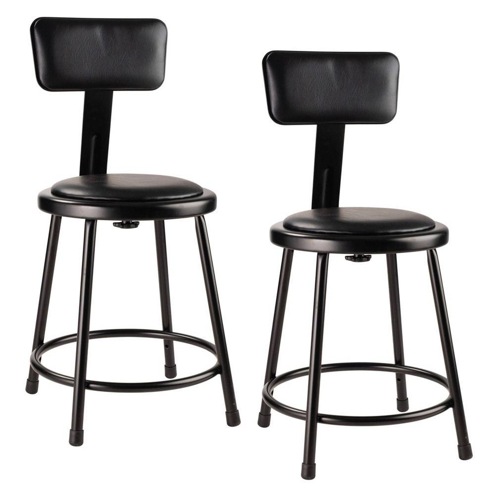"Image of ""2pk 18"""" Heavy Duty Vinyl Padded Steel Stool with Backrest Black - Hampton Collection"""