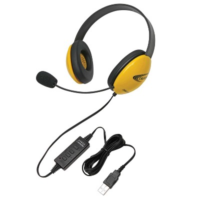 Califone Listening First 2800YL-USB Over-Ear Stereo Headset with Gooseneck Microphone, USB Plug, Yellow, Each