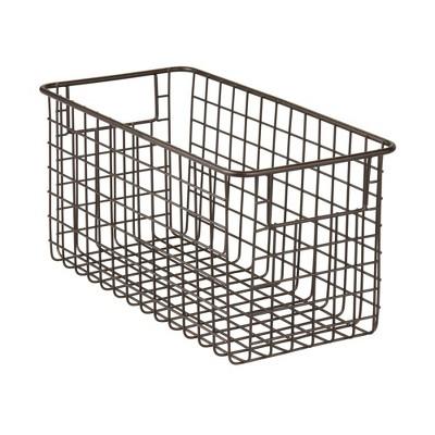 mDesign Bath Metal Storage Organizer Basket, 2 Pack