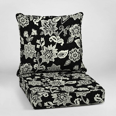 Ashland Jacobean Deep Seat Outdoor Cushion Set Black/White - Arden Selections