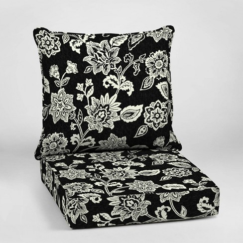 Ashland Jacobean Deep Seat Outdoor Cushion Set Black/White - Arden Selections - image 1 of 2
