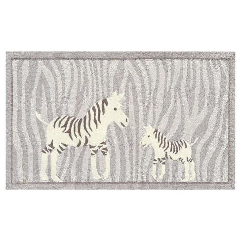"Gray Zebra Area Rug (32""x56"") - The Rug Market - image 1 of 2"