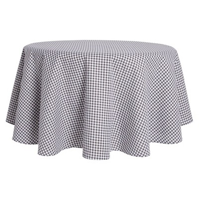 """70"""" Cotton Round Gingham Woven Tablecloth Gray - Town & Country Living"""