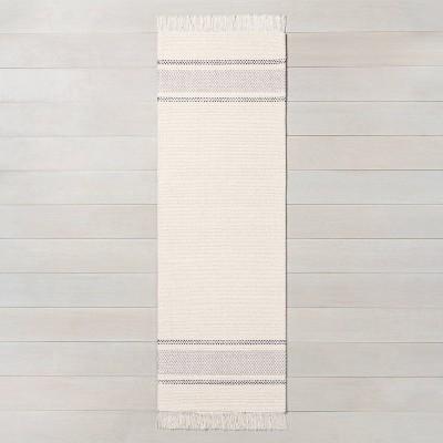 """2'4"""" x 7' Tri-Striped Runner Railroad Gray / Jet Gray / Sour Cream - Hearth & Hand™ with Magnolia"""