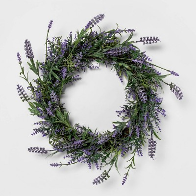 "22'"" Artificial Lavender Wreath Purple - Threshold™"