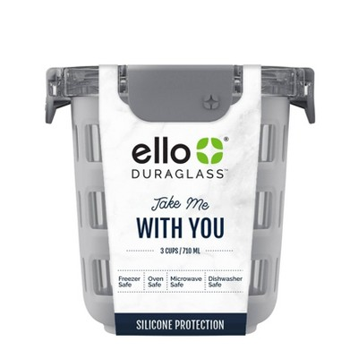 Ello 3 Cup Glass Meal Prep Bowl - Gray