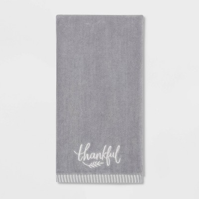 Harvest Thankful Solid Hand Towel Gray   Threshold™ by Shop This Collection