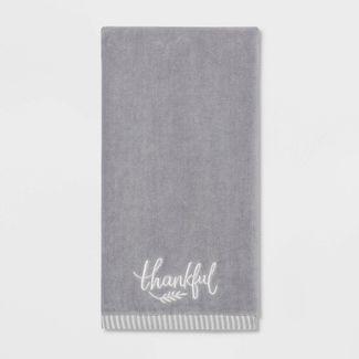 Harvest Thankful Solid Hand Towel Gray - Threshold™
