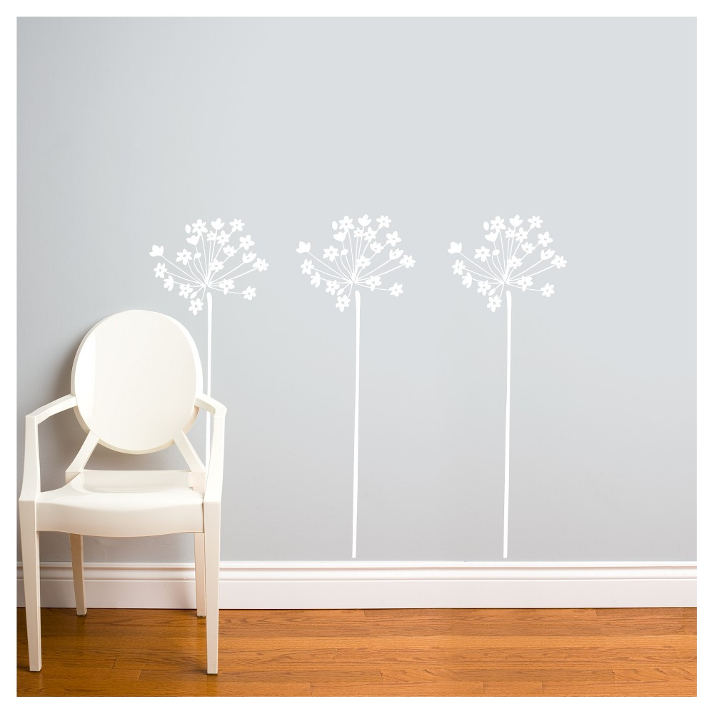Image of Fire-Flowers Wall Decal - White