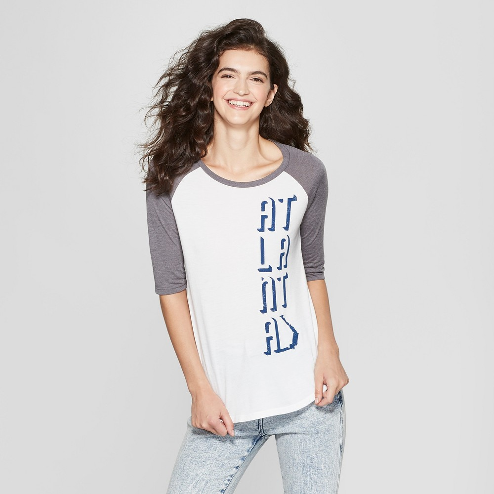 Women's 3/4 Sleeve Atlanta Shadow Raglan Graphic T-Shirt - White/Gray XL
