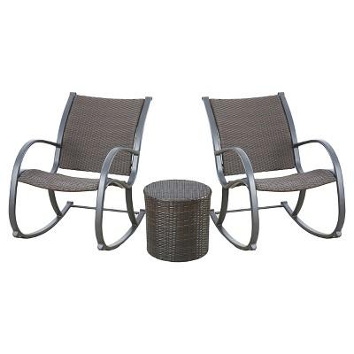 Gracie's 3 Piece Rocking Chair Set - Dark Brown - Christopher Knight Home