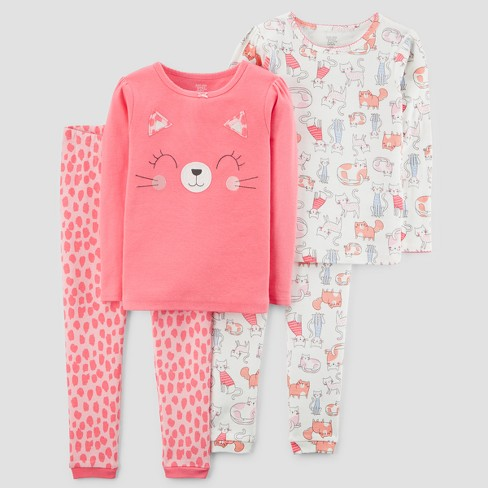 ef77faa43b Toddler Girls  4pc Cat Print Long Sleeve Pajama Set - Just One You ...