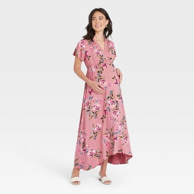 Flutter Short Sleeve Smocked Maternity Dress - Isabel Maternity by Ingrid & Isabel™ Floral Print