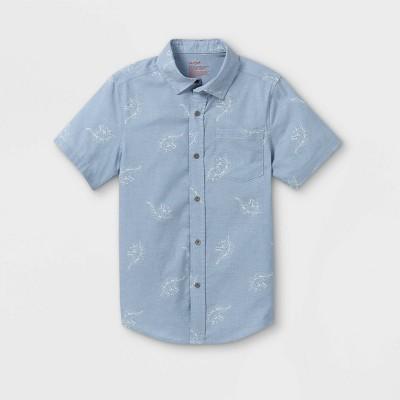 Boys' Adaptive Dinosaur Woven Button-Down Shirt - Cat & Jack™ Blue/White