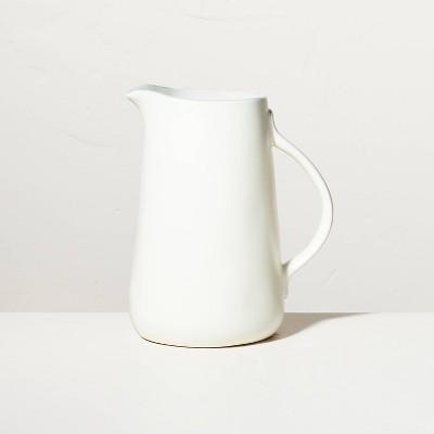 Large 108oz Matte Stoneware Pitcher Sour Cream - Hearth & Hand™ with Magnolia