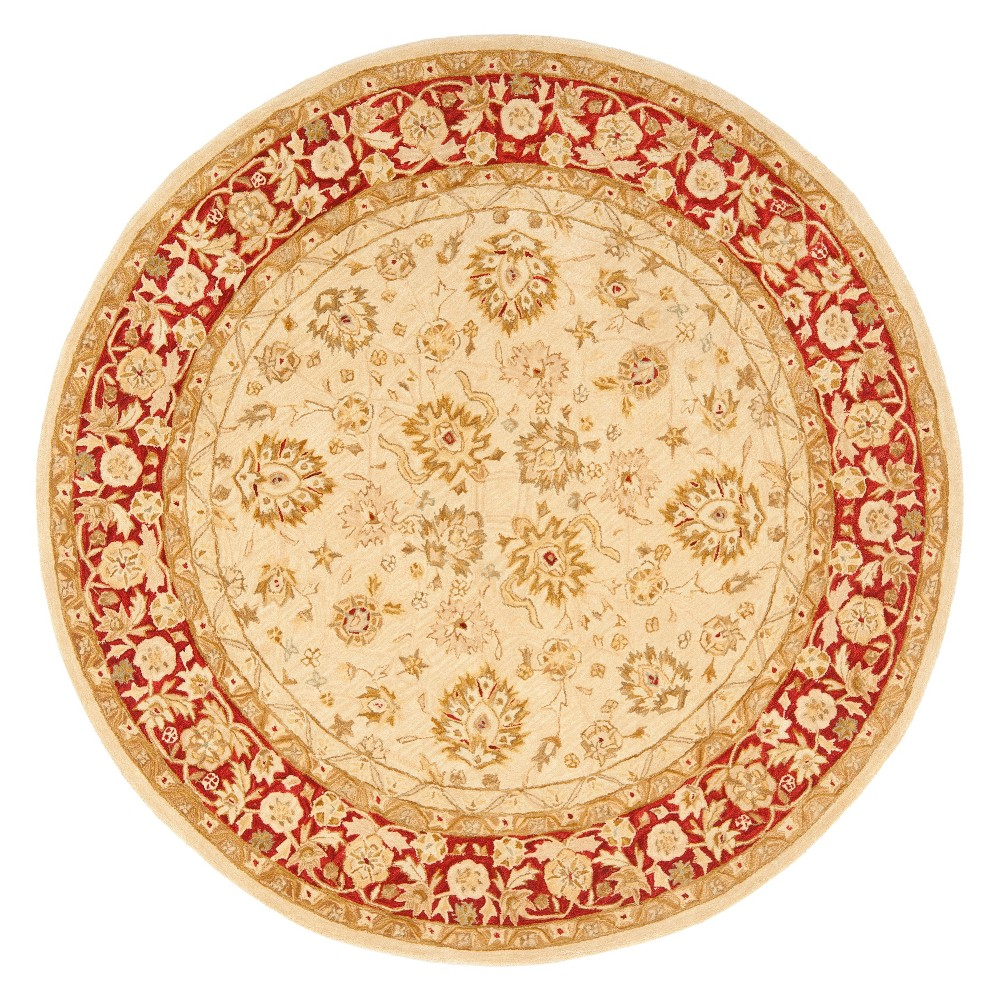 8' Floral Round Area Rug Ivory/Red - Safavieh