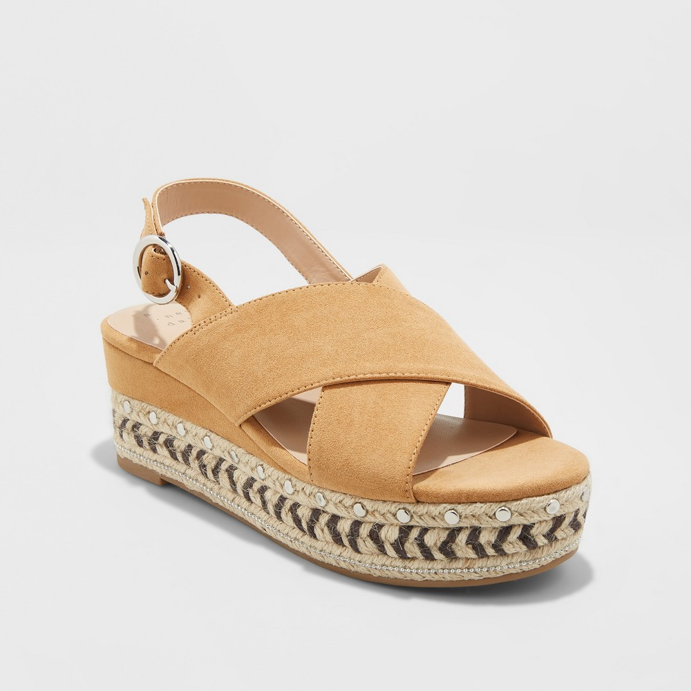 Women's Trista Mixed Media Wedge Espadrille - A New Day Tan 5