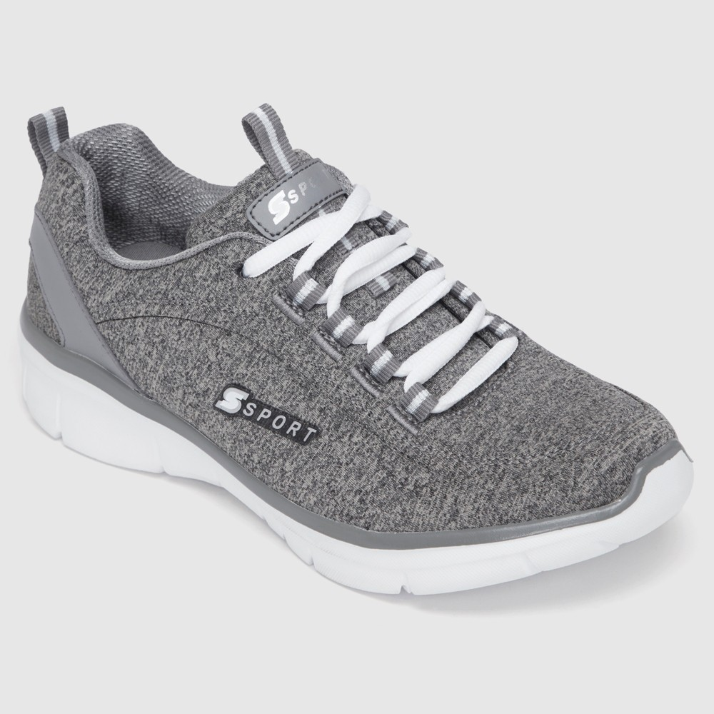Women's S SPORT BY SKECHERS Sariyah Lace up Jersey Athletic Shoes - Grey 5, Size: Small, Gray