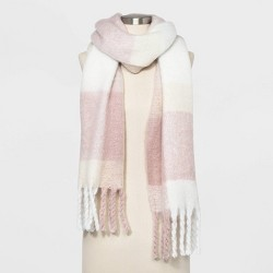 Women's Plaid Brushed Blanket Scarf - A New Day™ Smoked Pink One Size