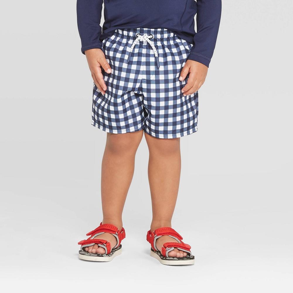 ee378f6da3 Toddler Boys Gingham Swim Trunks Navy 4T Blue