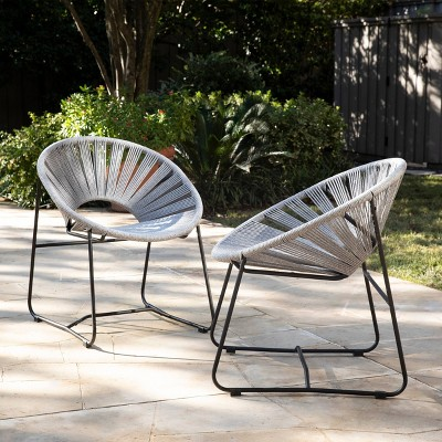 Rondly 2pk Outdoor Patio Rope Accent Chair Gray - Holly & Martin