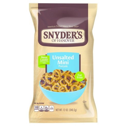 Snyder's of Hanover Unsalted Fat Free Mini Pretzels - 12oz - image 1 of 2