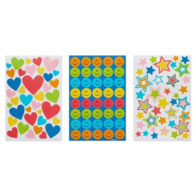 385ct Hearts, Stars, and Smiley Face Stickers