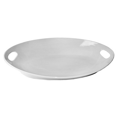 Ten Strawberry Street Oslo Oval Handle Porcelain Serving Platter - 22