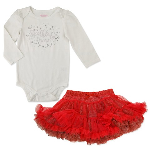 Baby Girls' 2 Piece Tutu and Long Sleeve Sparkle Bodysuit Set Red - Baby Grand - image 1 of 1