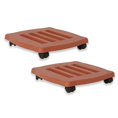 """2pk 15"""" Square Plant Stand Dolly with Wheels and Caddy Tray Terracotta - Bloem"""