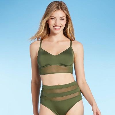 Women's Mesh Longline Bralette Bikini Top - Shade & Shore™