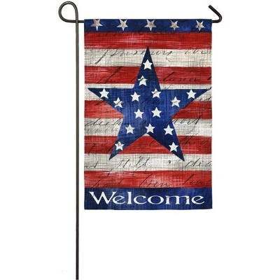 Evergreen Flag  Patriotic Stripe & Star  Garden Sub Suede Flag
