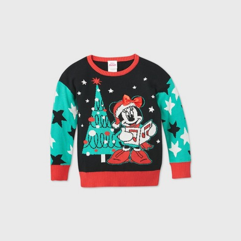 Toddler Girls Minnie Mouse Christmas Tree Ugly Christmas Sweater Black Target