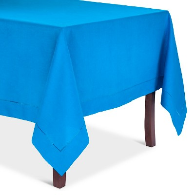 Hemstitched Tablecloth Azure Blue (72  Round)
