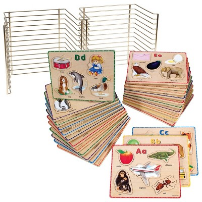 Puzzleworks ABC Puzzle Set with Wire Rack - 26 Total Puzzles