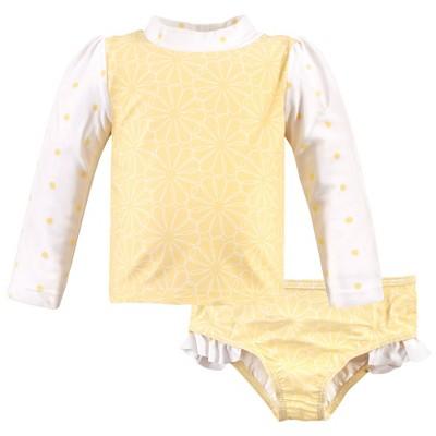 Hudson Baby Infant Girl Swim Rashguard Set, Yellow Daisy