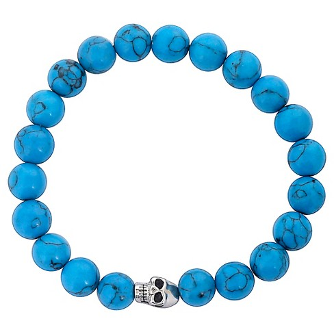 Men's West Coast Jewelry Stainless Steel Skull and Dyed Turquoise Beaded Bracelet - image 1 of 3